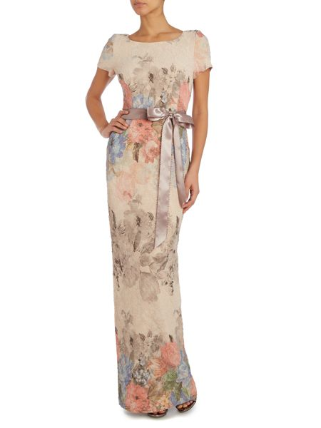 Adrianna Papell Cap sleeve dress with tie waist