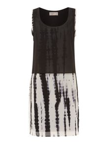 Chiffon overlay tie dye dress