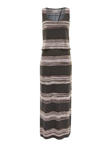 Painterly stripe maxi dress