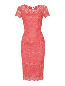 Cap sleeve shoulder gupuire lace dress