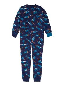Boys shark print onesie