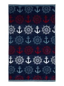 Nauical anchor beach towel