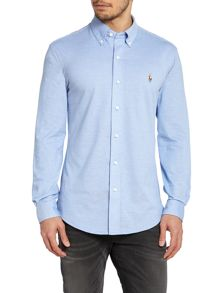 Plain Mesh Long Sleeve Slim Fit Shirt
