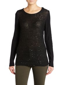 Sequin front knit jumper