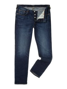 Tapered leg dark wash jeans
