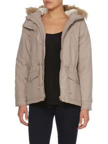 short Padded Fur Trim Jacket