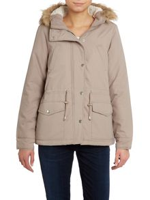 Vero Moda Short padded faux fur trim jacket