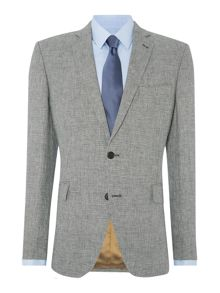 Folco Dogtooth Linen Suit Jacket