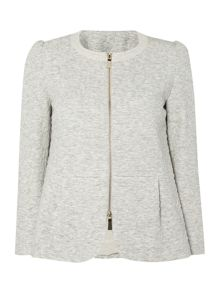 Alias long sleeved textured peplum hem jacket