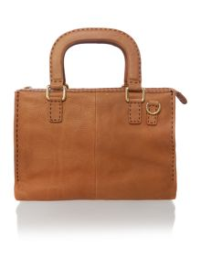 Tan large cross body satchel bag