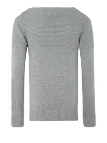 Boys button crew knitted jumper