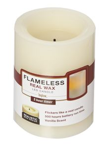 Small 4 Flameless Pillar Candle Ivory