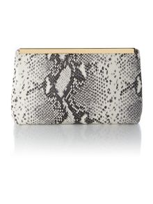 Taupe exotic cross body clutch bag