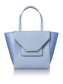 Pale blue cross hatch large tote bag