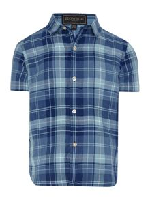 Howick Junior Boys Short Sleeve Linen Blend Check Shirt