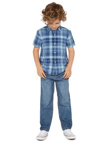 Boys Short Sleeve Linen Blend Check Shirt