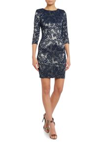 Wrap front lace bodycon dress