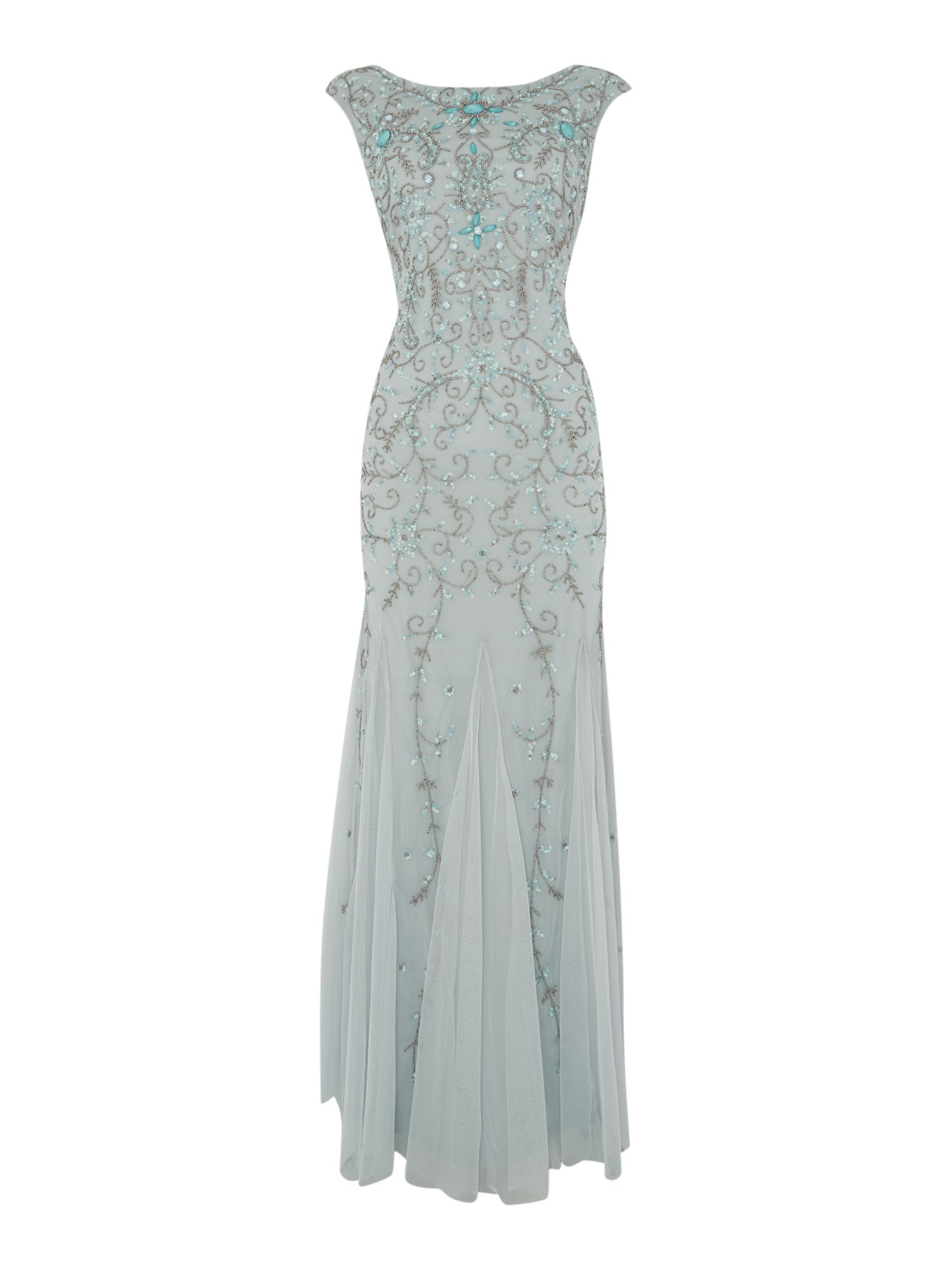 Adrianna Papell Cap sleeve gown with beaded gem stones $155.00 AT vintagedancer.com