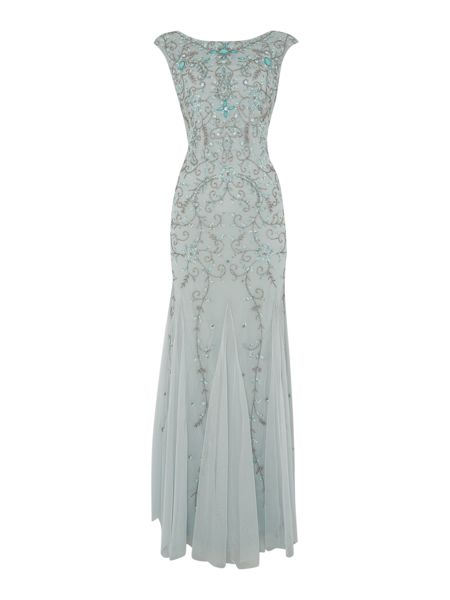 Adrianna Papell Cap sleeve gown with beaded gem stones