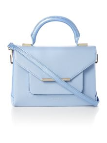 Pale blue cross hatch small tote bag