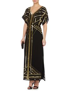 Gold limited edition embellished deco maxi dress