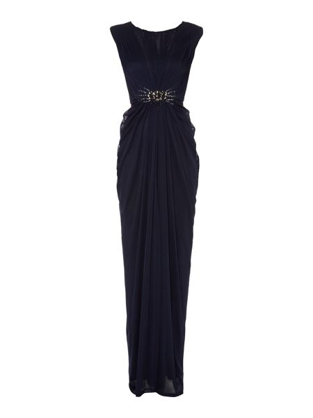 Adrianna Papell Cap sleeve gown with beaded ruched waist