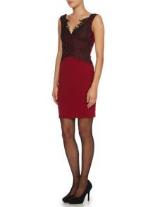 Sleeveless lace top bodycon dress