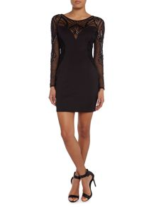 Long sleeve mesh sequin bodycon dress