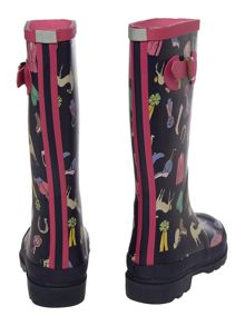 Girls pony mix print wellies