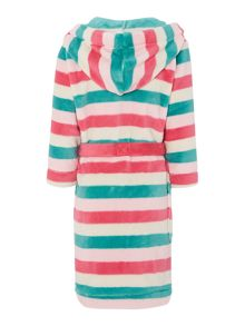 Girls stripe hooded dressing gown