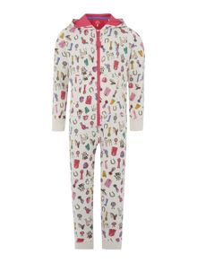 Girls show print hooded onesie