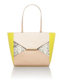 Yellow colour block large leather tote bag