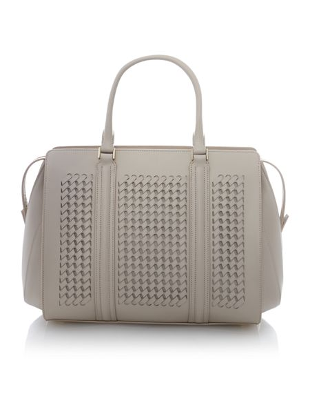 Hugo Boss Berlin neutral woven large tote bag