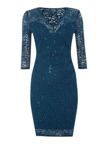Long sequin lace dress