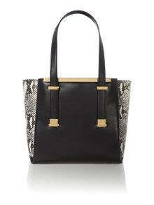 Black large exotic corners tote bag