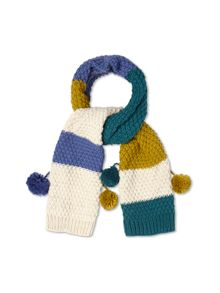 Colour Block Pom Pom Scarf