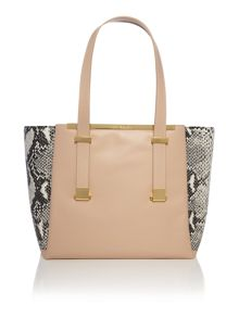 Taupe large exotic corners tote bag