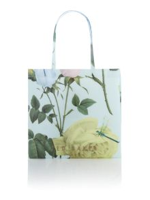 Mint floral print bowcon tote bag
