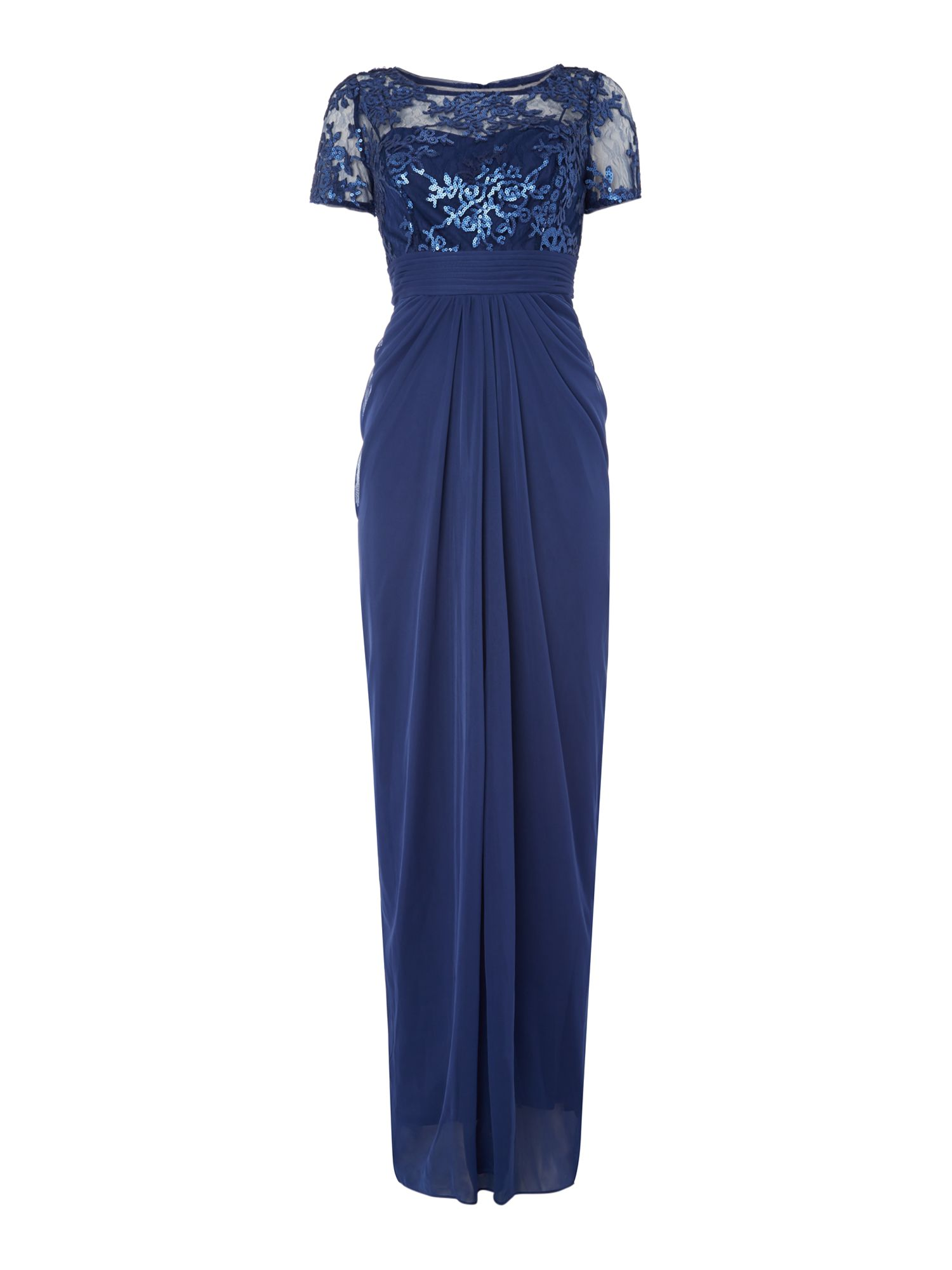 Adrianna Papell Short sleeve gown with floral sequin top $85.00 AT vintagedancer.com