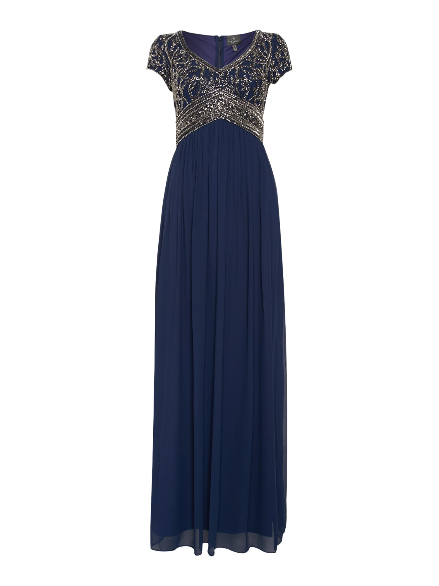 Adrianna Papell Empire waist gown with beaded top $170.00 AT vintagedancer.com