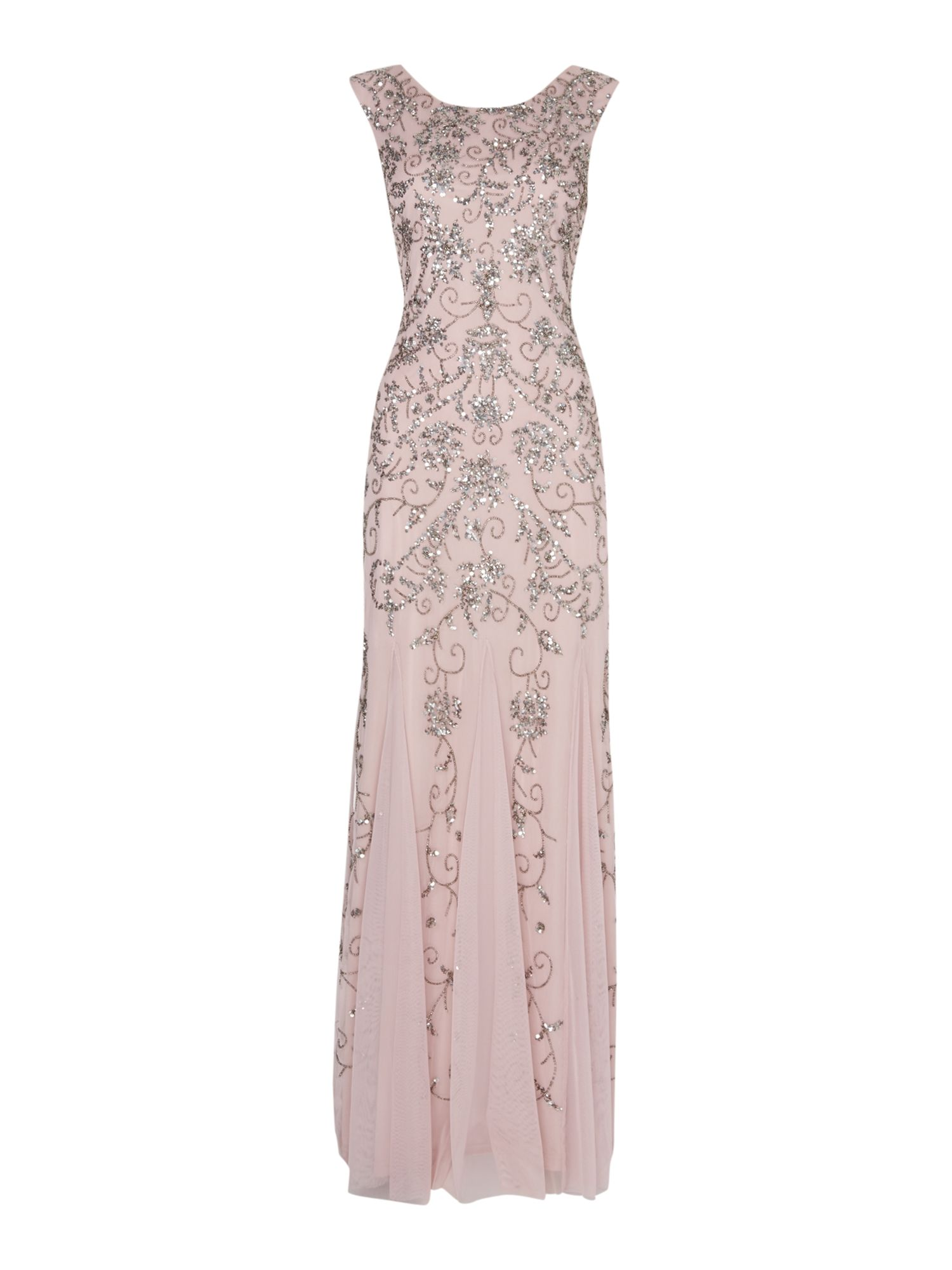 Adrianna Papell Brocade beaded sequin gown $116.00 AT vintagedancer.com
