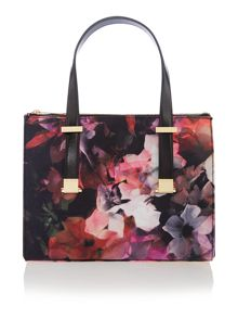 Black medium floral canvas tote bag