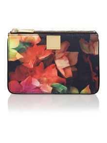 Black cascading floral print cross body bag