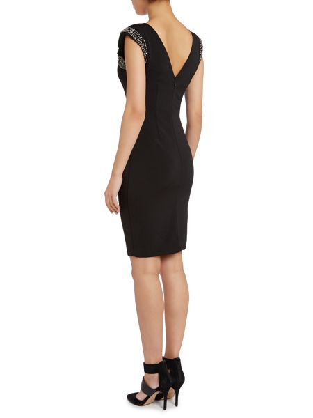 Little Mistress Sleeveless embellished top bodycon dress