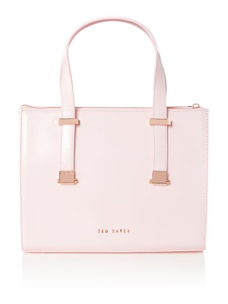 Ted Baker Pale pink mini cross hatch cross body tote bag