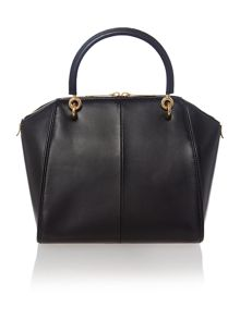 Black small metal bow leather tote bag