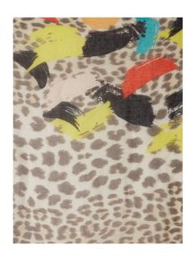 Animal print with colour painting long scarf