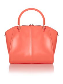 Orange small metal bow leather tote bag