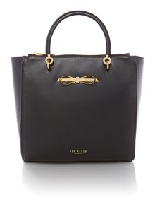Blak large bow leather tote bag