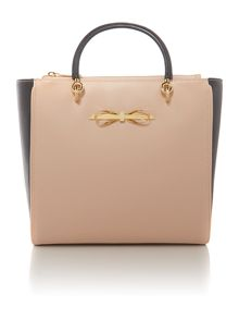 Taupe large bow leather tote bag